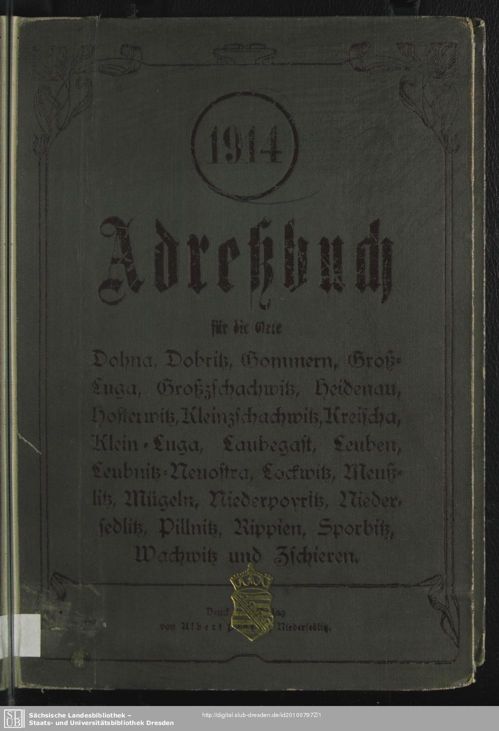 Adressbuch Dohna 1914