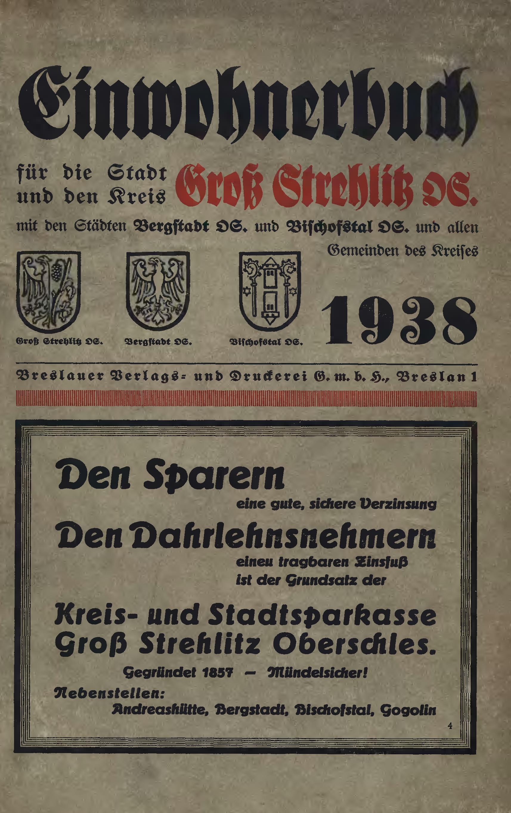 Adressbuch Landkreis Groß-Strehlitz 1938