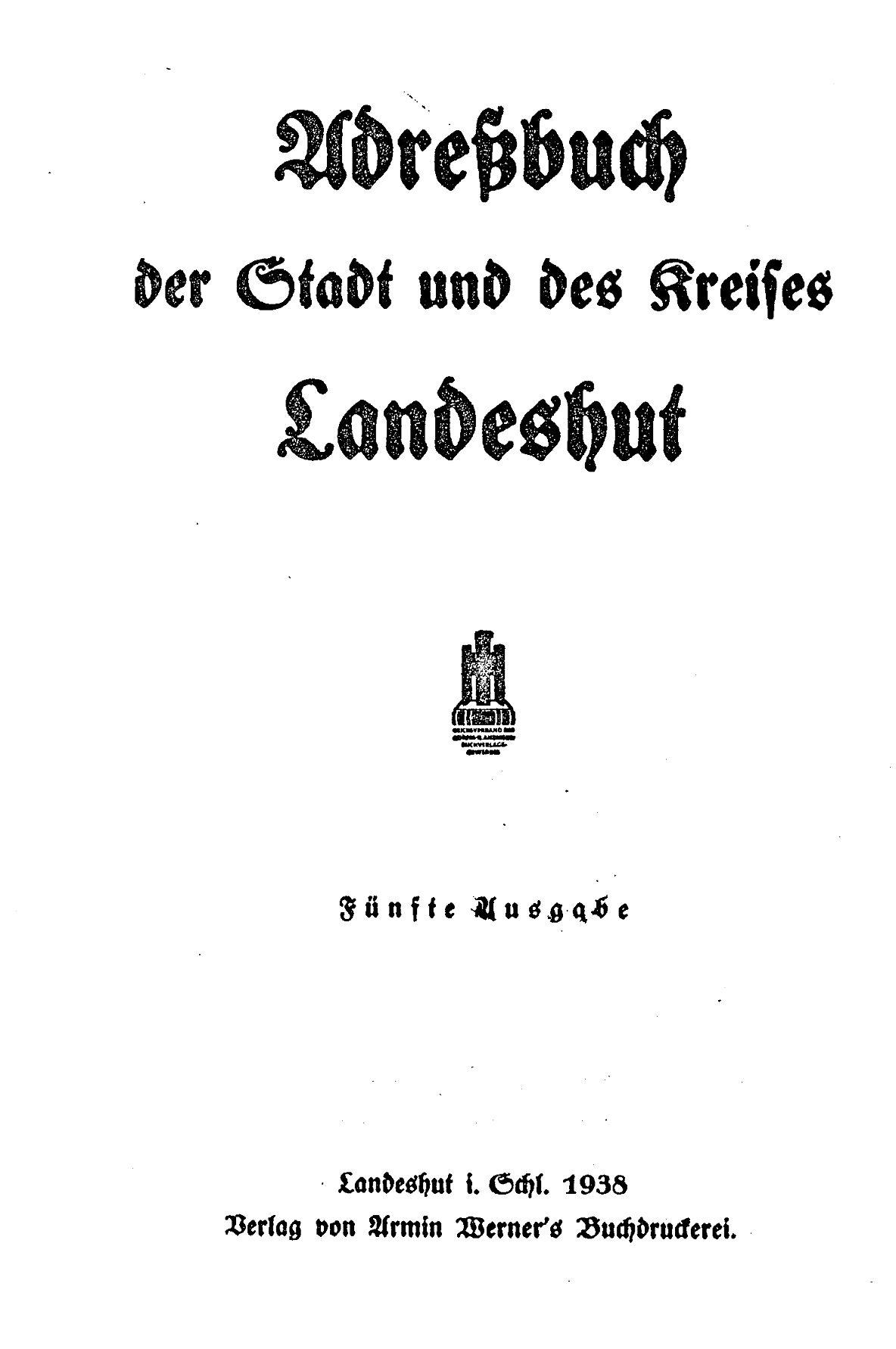 Adreßbuch der Stadt und des Kreises Landeshut 1938