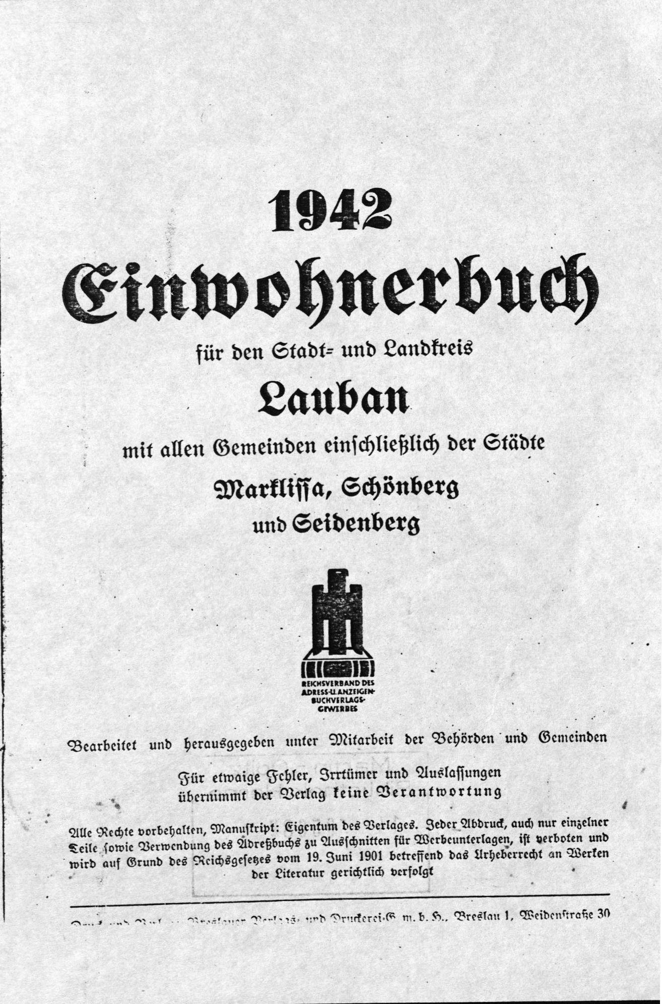 Einwohnerbuch für den Stadt- und Landkreis Lauban 1942