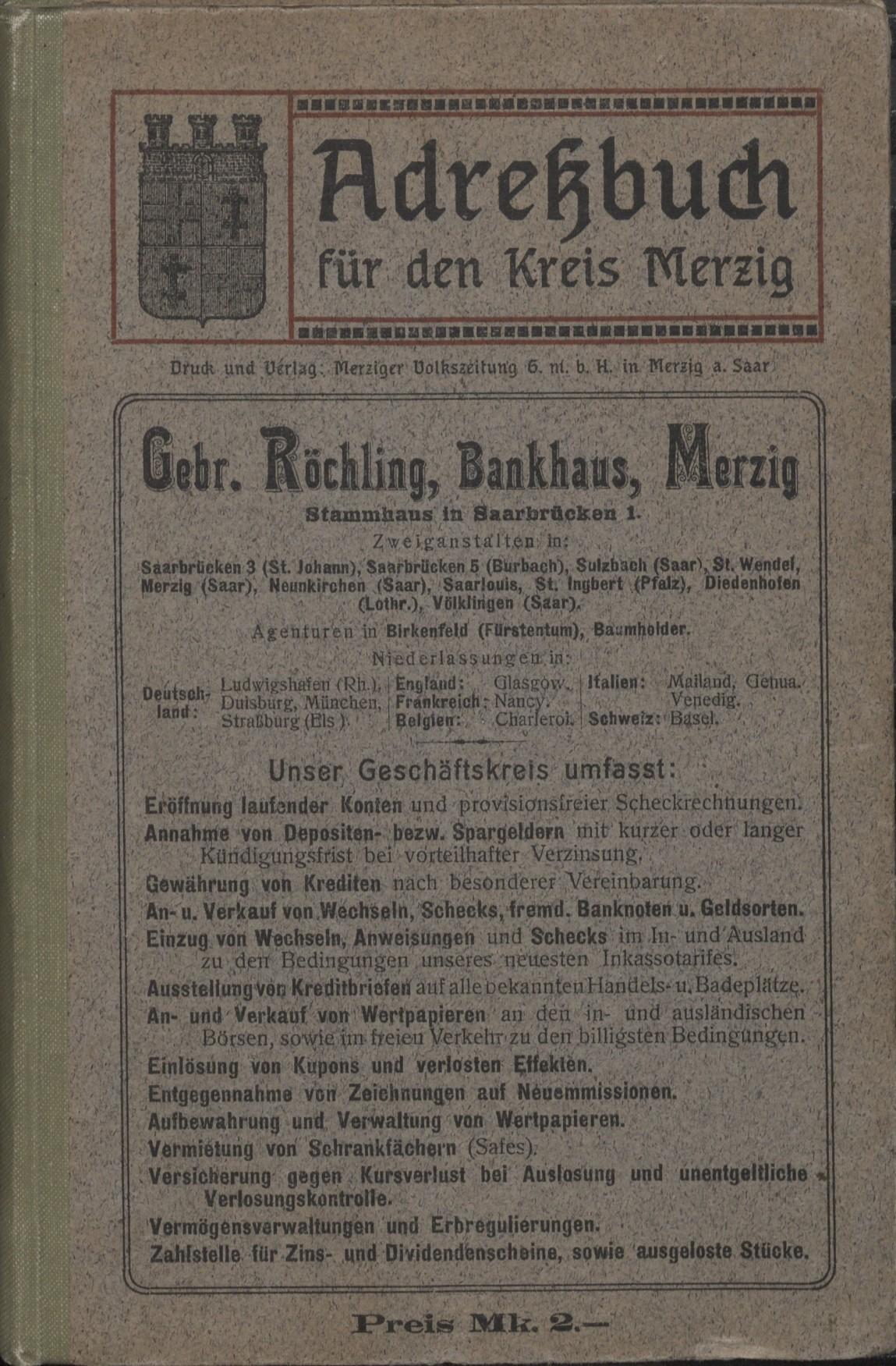Adressbuch Merzig 1913