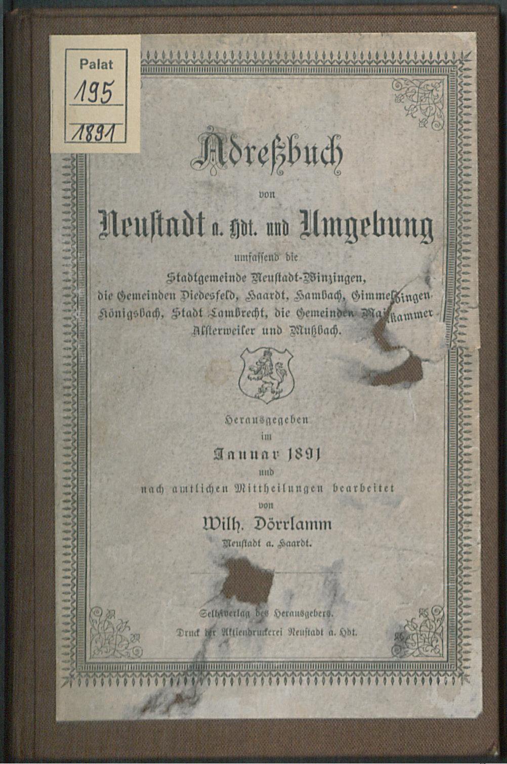 Adreßbuch Neustadt a. d. Haardt und Umgebung 1891