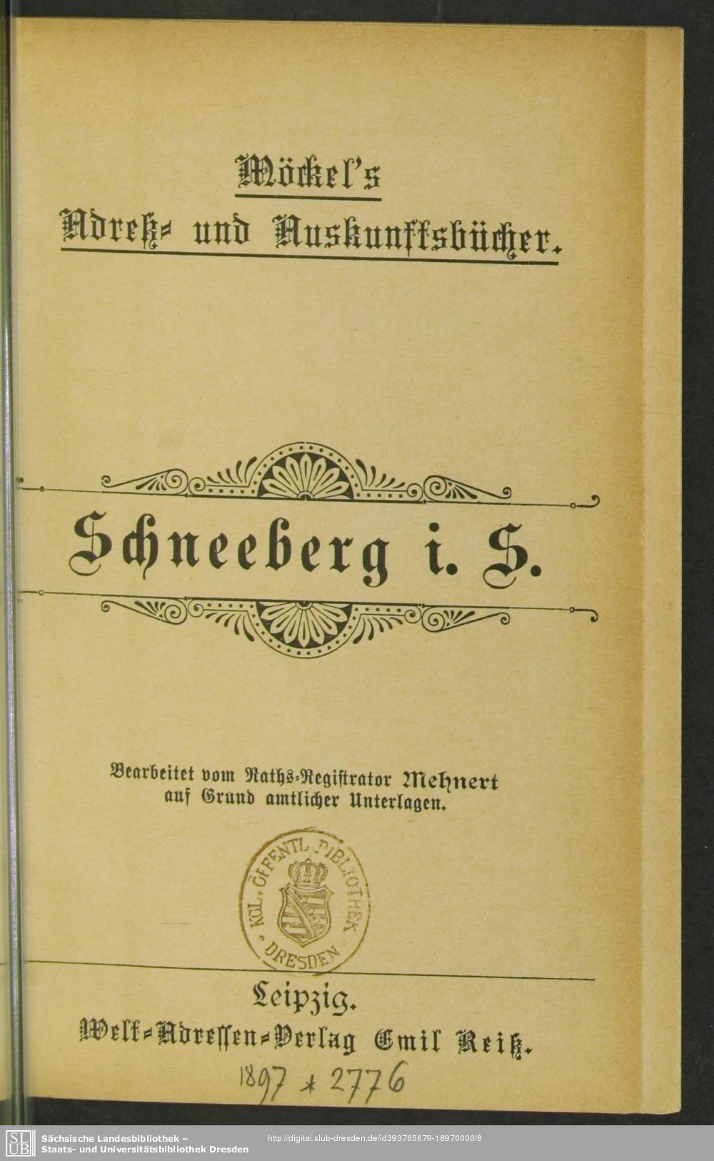 Adressbuch Schneeberg (Erzgebirge) 1897