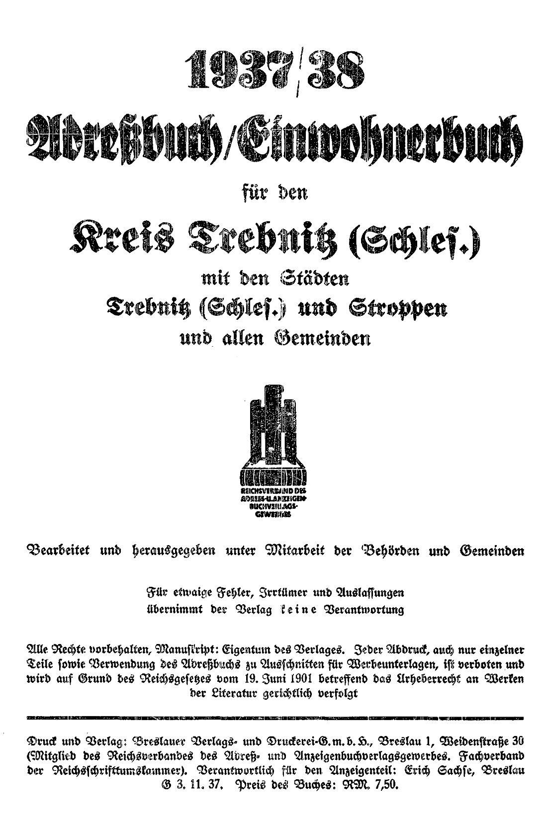 Adreßbuch/Einwohnerbuch für den Kreis Trebnitz 1937/38