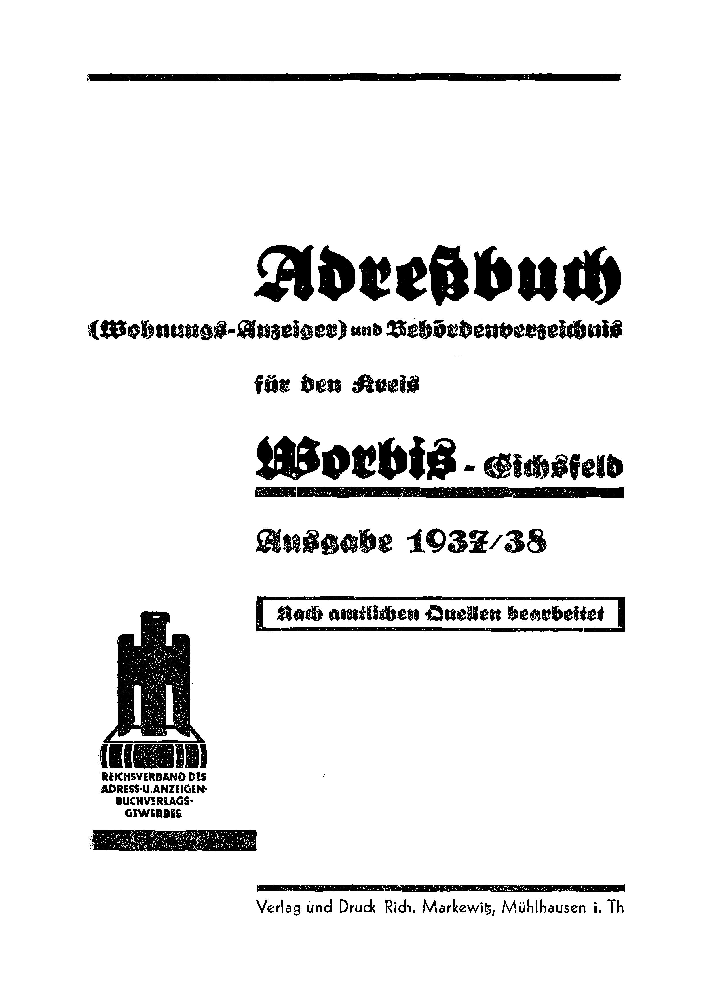 Adressbuch Worbis (Landkreis) 1937-38